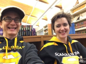 Actors Brían and Sarah are pretty thrilled about their Scammon Bay swag.