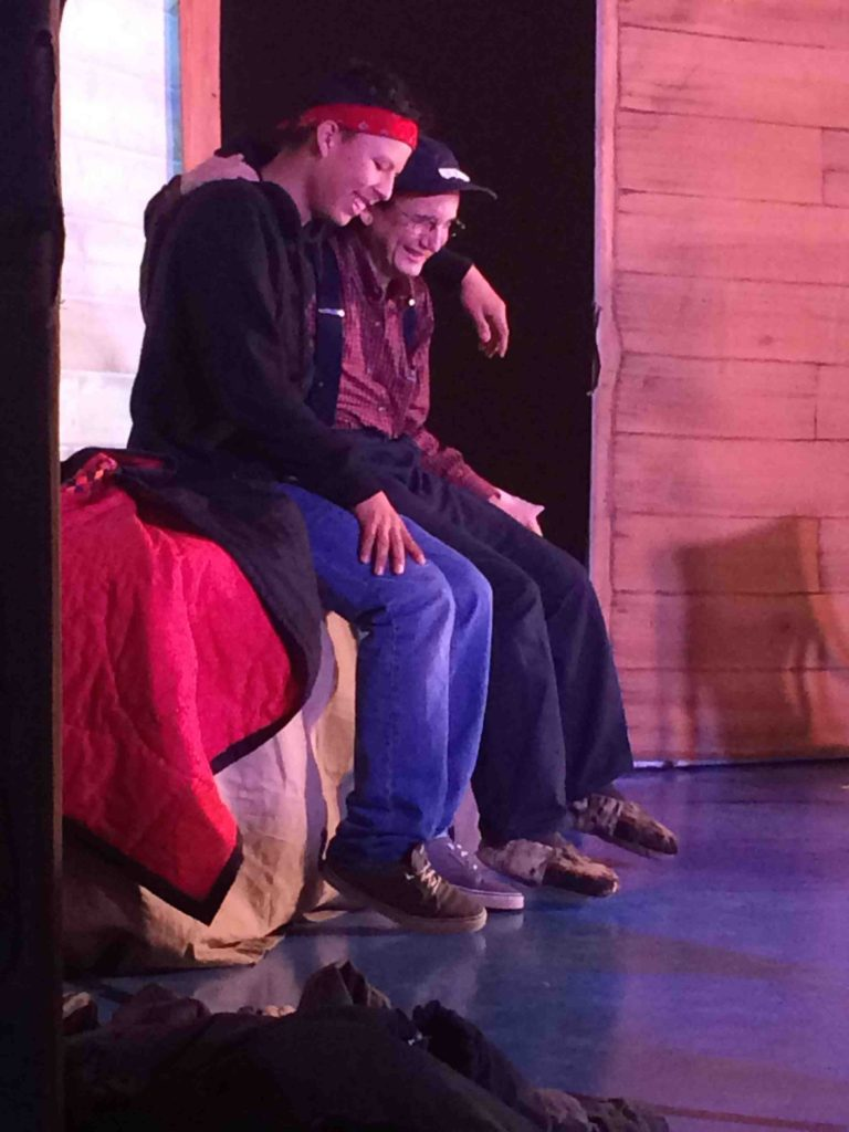 Izzy (Duane) and Brían (Sidney) in Act 2.